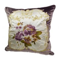 Luxurious Purple  Decorative Floral Applique Cushion  Cover